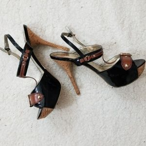 Guess Black and Brown and Gold Buckle Heels